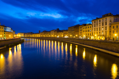 Pisa on the Arno at Night