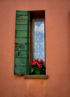 Burano window with lace curtain
