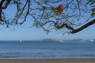 Photo of sailboats anchored offshore at the beach with some islands in the distance.