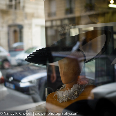 Parisian hat window display.