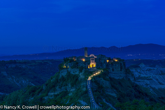 Civita, Italy, at night.