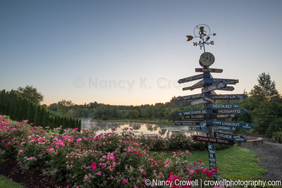 Image of roses and lake with a sign that shows places in all directions.